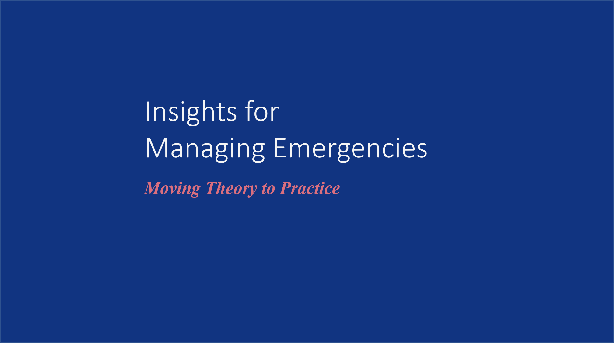 Planning & Organizing with Edgar Morin: Insights for Managing Emergencies