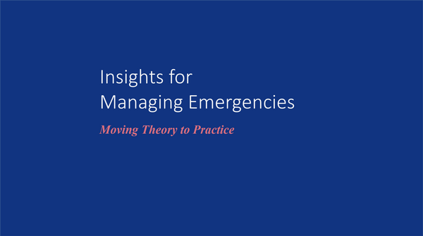 Chaos and Complexity Theory: Insights for Managing Emergencies